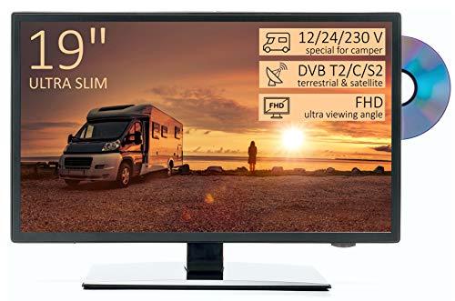 "TV Led HD 19"" per Camper ULTRA SLIM design - DVD/Usb/Ci+/Hdmi - 12/24/220 V - DVB-T2/S2/C - Compatibile CAM Tivusat - Attacco Vesa"
