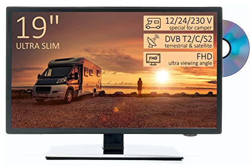 TV Led HD 19' per Camper ULTRA SLIM design - DVD/Usb/Ci+/Hdmi - 12/24/220 V - DVB-T2/S2/C - Compatibile CAM Tivusat - Attacco Vesa