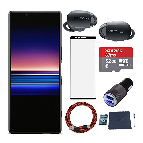 Sony Xperia 1 (Black) with Sony WF1000 True Wireless Noise Cancelling Headphones Bundle (8 Items)