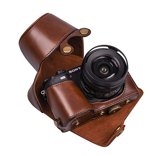 XEVN for Sony a6300 case,for Sony a6000 case,Premium PU Full Body Leather Camera Case Bag for Sony Alpha a6300 a6000 a6100 a6400 Fit 16-50mm Lens with Camera Shoulder Strap(Coffee)