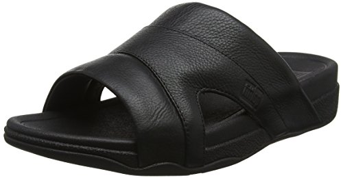 Fitflop Freeway Pool Slide in Leather, Sandali a Ciabatta Men's, Nero Nero, 44 EU