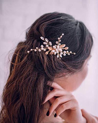 Simsly Horquillas para el pelo de novia, boda, dorado, para novia, accesorio para el cabello, perlas para mujeres y niñas