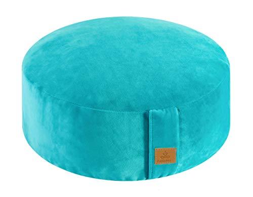 "Round Velvet Meditation Pillow, Yoga Bolster, Zafu Buckwheat Meditation Cushion for Sitting on Floor, yoga seat cushion, Floor Pouf, Zippered Premium Cover, Luxury Kneeling Pillow-Cyan Blue 13""x13""x5"""