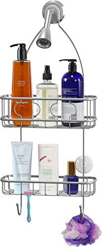 Simple Houseware Bathroom Hanging Shower Head Caddy Organizer, Silver (22 x 10.2 x 4.2 inches)