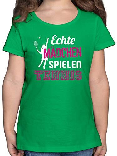Sport Kind - Echte Mädchen Spielen Tennis - 152 (12/13 Jahre) - Grün - F131K - Mädchen Kinder T-Shirt