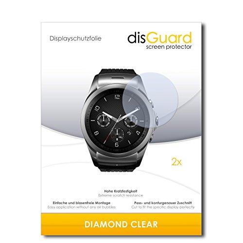 disGuard 2 x Displayschutzfolie LG Watch Urbane LTE Schutzfolie Folie DiamondClear unsichtbar