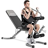 Merax Utility Weight Bench with Leg Extension for Full Body Workout, 550LBS...