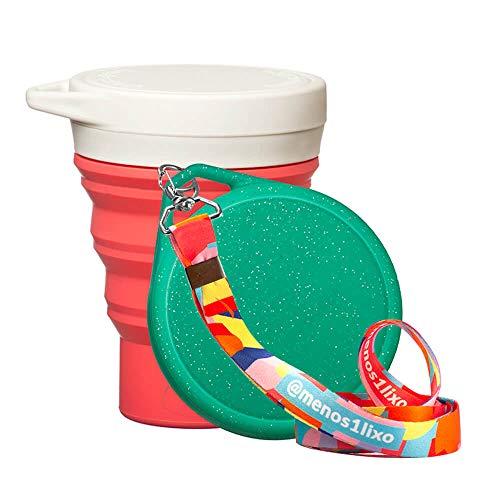 Kit Menos 1 Lixo - Copo Retrátil Melancia + Tampa Verde Glitter + Cordinha