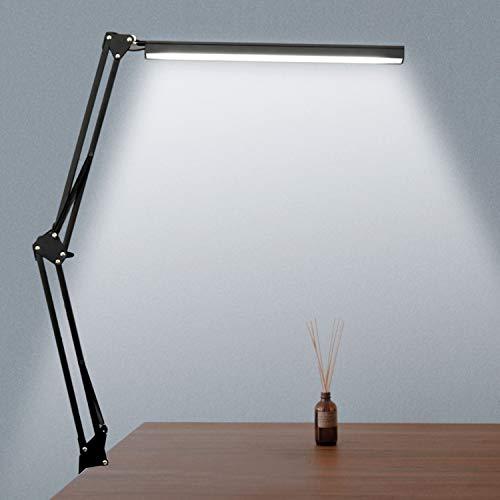 novolido LED lámpara de mesa con Abrazadera, 3modos de color lámpara de escritorio Plegable, luminosidad regulable con pulsanteper para lectura estudio trabajo oficina, 7.8W