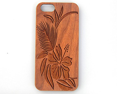 TheLaser'sEdge Compatible Apple iPhone 6/6s Plus Laser Engraved Cherry Wood Case (Hibiscus)