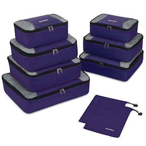 Packing Cubes 9-teilig, 2 zusätzliche Beutel, kleine, mittelgroße, große und 1 größere Kleidertasche, lila …