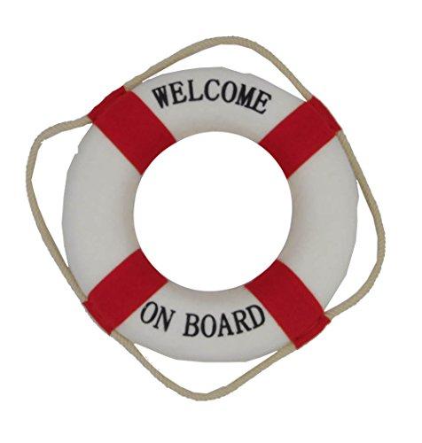 osters muschel-sammler-shop Maritime Deko Rettungsring Willkommen an Bord rot/Weiss│Fischernetzdekoration │ Meeresdekoration │ Maritime Dekoration