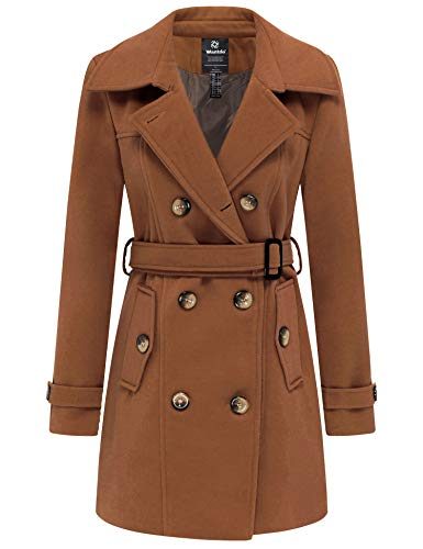 Wantdo Women's Stylish Double Breasted Wool Blended Pea Coat with Belt Coffee M