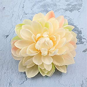 Artificial and Dried Flower 11CM Head/5PCS Fake Dahlias Artificial Silk Flowers Heads,Giant Lotus Real Touch Roses,Wedding Decoration Flower,DIY Bouquet