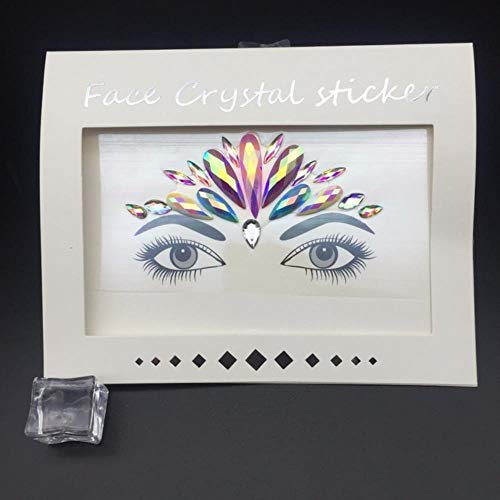 PENVEAT Hippie-Geck-Aufkleber Self Adhesive Strass-Kristall-Dekoration für Schmuck Accessoires Musik-Party-Augen-Kunst-Aufkleber M, Grau