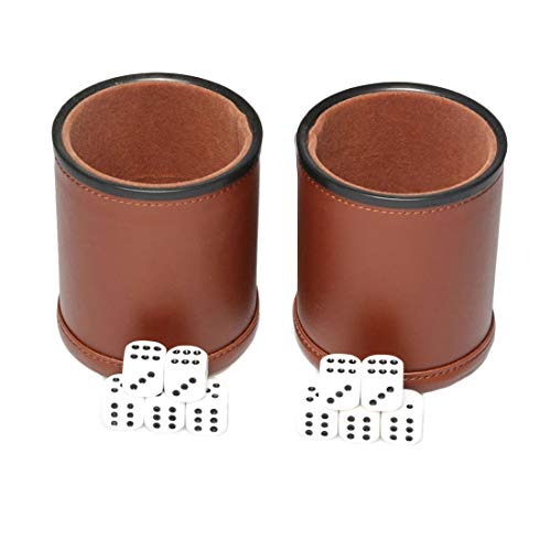 RERIVER Leather Dice Cup Set Felt Lining Quiet Shaker with 5 Dot Dices for Farkle Yahtzee Games, 2 Pack (Brown)