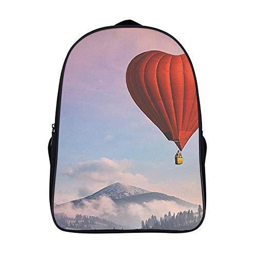 XIAHAILE Kompakte Rucksack Büchertasche für Männer und Frauen, leichter Rucksack für Schul und Urlaubsreisen,Herz Heiß Luft Ballon Liebe