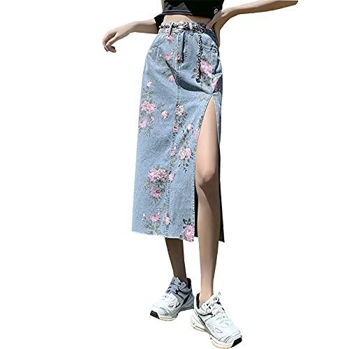 Falda de Mezclilla con Estampado de Flores Rosas de Cintura Alta para Mujer Verano Nueva Bolsa Suelta de Longitud Media Falda Dividida en Forma de A