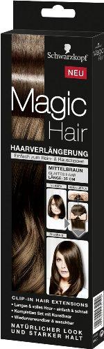 Schwarzkopf Magic Hair Mittelbraun Haarverlängerung 3 Teile einfach zum Rein- & Rausclippen. Haarteile