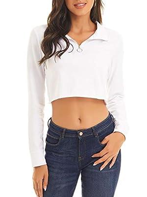 DIRASS Women's Active Turtleneck Quarter Zip Up Teen Girls Pullover Crop Sweatshirt(White,L)