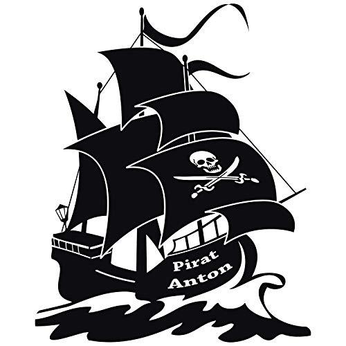 wandtattoo-factory Piratenschiff mit Wunschnamen