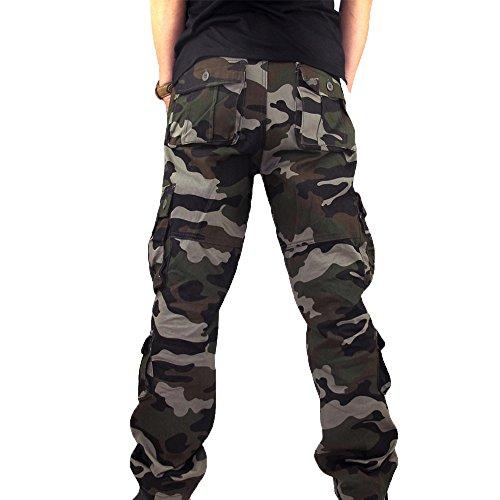 LoveLeiter MäNner Sport Arbeits ZufäLlige Camo Hosen Workwear Arbeitshose Herren Outdoor Tactical Baumwolle Cargo Trousers Mit Vielen Taschen FüR Jagd Wandern Camping Cargohose Vintage(Army Grün,36)