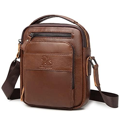 BAIGIO Bolso bandolera de piel para hombre, estilo vintage, para trabajo, viajes, vida cotidiana, marrón rojizo, Small