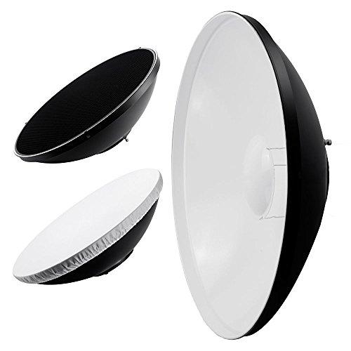 Phot-R P-BD22BW 56 cm (22 Zoll) Beauty Dish Fotografie Foto-Studio-Licht-Beleuchtung Zubehör Universal-Reflektor Egg Crate Wabe transluzentem Kunststoff Interior Bowens S-Type Berg weiß/schwarz