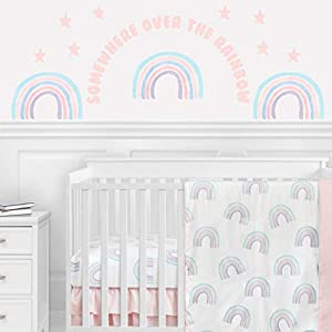 Sweet Jojo Designs Pastel Rainbow Large Peel and Stick Wall Decal Stickers Art Nursery Decor Mural – Set of 4 Sheets – Blush Pink, Purple, Teal, Blue and White Star Somewhere Over The Rainbow