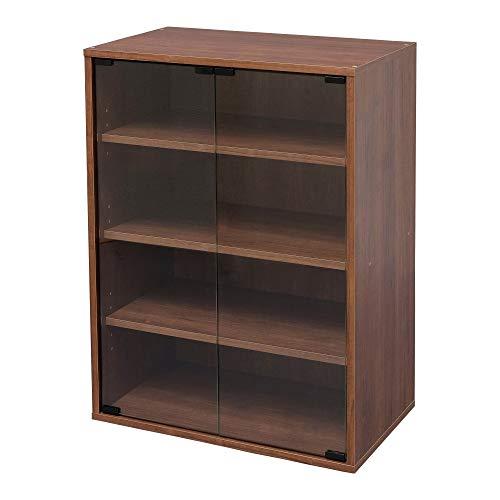 Marca Amazon - Iris Ohyama CGK-6035 - Mueble para muebles (4 estantes, puertas de cristal, madera MDF, madera de ingeniería, marrón roble)