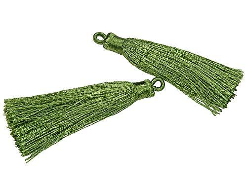 (SAJ) 「2個入り」 タッセル 若草色 6cm ハンドメイド パーツ アクセサリーパーツ 材料