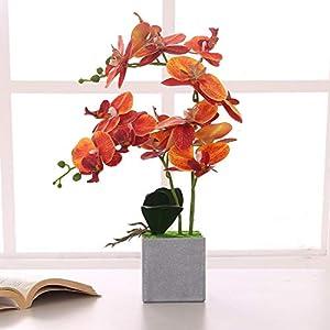 ENCOFT Flores Artificiales Plástico Flor de Phalaenopsis Realista Orquídea Mariposa con Maceta Imitación Cerámica…