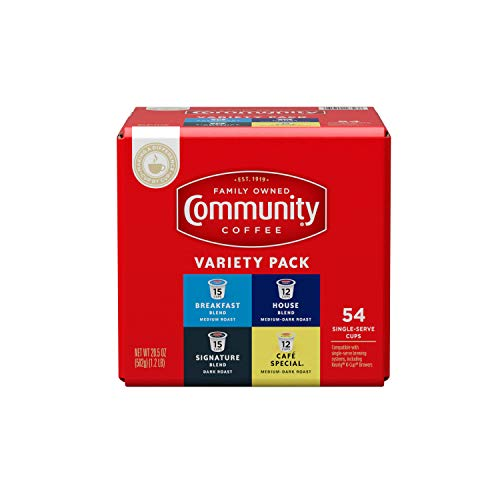 Community Coffee Variety Pack 54 Count Coffee Pods, Medium to Dark Roast, Compatible with Keurig 2.0 K-Cup Brewers, Box of 54 Pods