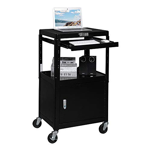 TUFFIOM AV Presentation Cart for Video Projector, Laptop Computer, Mobile Workstation Utility Media Cart for School Classroom Office, Rolling Storage Stand with Locking Cabinet Keyboard Shelf