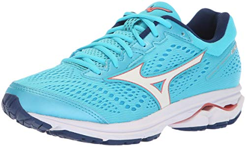 Mizuno Women's Wave Rider 22 Running Shoe, Blue Atoll/Gerogia Peach, 6 B