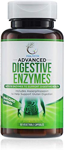 Advanced Digestive Enzymes - Pure Digestive - Aspergillopepsin 60 Times Faster Absorption - Amylase Lipase & Bromelain for People with Bad Teeth - 60 Veggie Capsules - Helthyr
