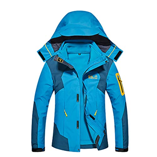 LiangZhu Unisex Frauen Verdicken DREI In Einem Und Zwei Sätzen Covert Jacket Snowboardjacke Mit Kapuze Lake Blue Female M