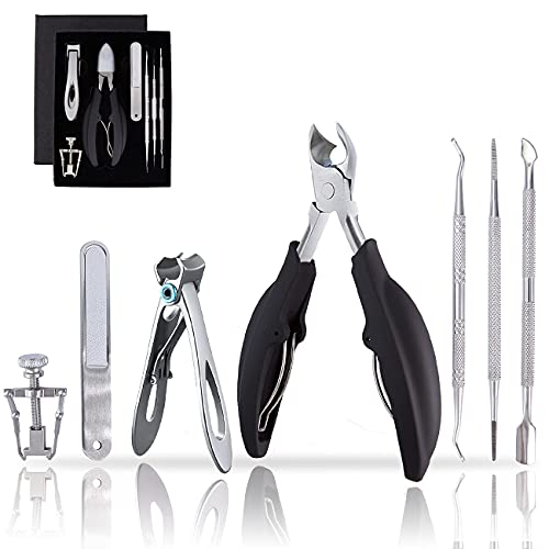 Toenail Clippers Set for Ingrown Thick Nail, Wide Jaw Opening Nail Clipper for Thick Nail, Ingrown Toenail Tool Kit for Ingrown Toenail, Pedicure Tool for Elderly Men Women by MAYKI