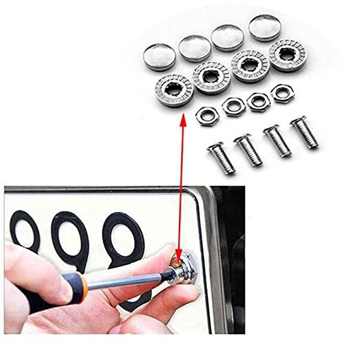 ZLLMY 4 Unids/Set Chrome Anti-Robo Tornillos De Automóvil Placa De Aleación Placa Bolts Screwscar