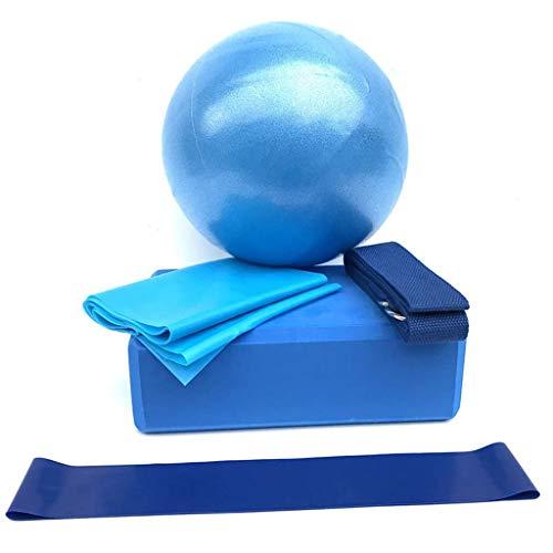 TWBB Komplettes Yoga Starter Set für Anfänger, Gymnastikball Yogablöcke Latexband Stretching Band Widerstandsbänder Yogaset 5-teilig (Blau, Eine Größe)