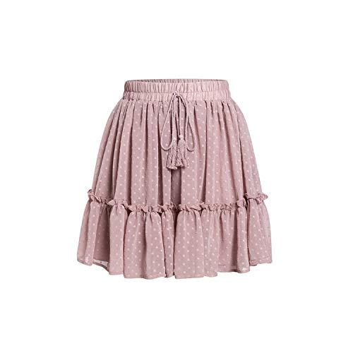 Dames Hoge Taille Polka Dot Korte Rok Roze Een Lijn Bloemen Gedrukt Ruche Chiffon Rokken