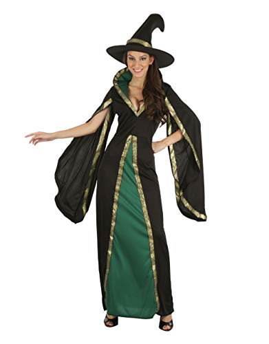 Bristol Novelty AF096 - Abito da strega + cappello, da donna, colore: nero, verde, taglia...