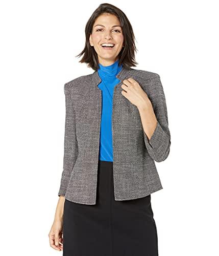 Anne Klein Women's Cropped Stand Collar JKT, Anne Black/Anne White, 8