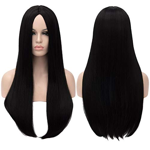 Mersi Black Wigs for Women Girls Long Straight Hair Wig Natural Fashion Cute Synthetic Wigs for Daily Party Cosplay S034BK
