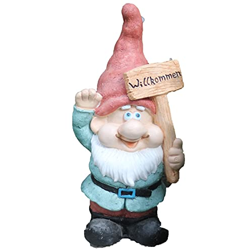HTian Garden Gnome Figurine Holding Welcome Sign, Handcrafted Gnome Sculpture, 16.73-Inch Tall, for Patio Yard Lawn Porch, Ornament