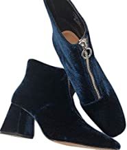Zara Womens Shoes Sz 6.5 Euro 37 Blue NWT 7134/201 Zip Front Block Velvet NWT