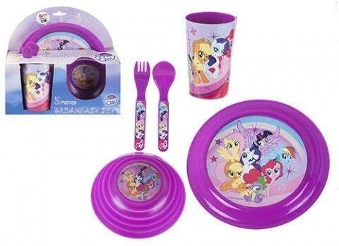 SRV Hub Juego de 5 piezas de comedor para niños o desayuno, con personaje de Disney pintado My Little Pony mejor para picnic y camping no tóxico sin BPA