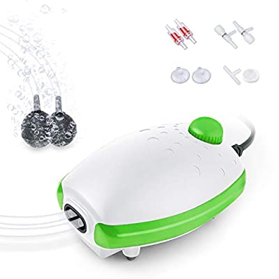 FEDOUR Aquarium Air Pump, Whisper Aerator with Accessories, 2 Outlets Silent Oxygen Pump for Fish Tank 30L to 400 Litres (White-Green)