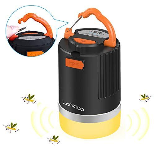 lanktoo 3 in 1 Lanterna da campeggio ricaricabile a LED, 12800mAh Power Bank, lampada repellente per zanzare, 5 modalità impermeabile per esterni da campeggio, pesca ed emergenze