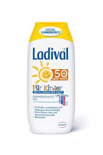 Ladival Kinder bei Allergischer Haut Sonnenschutz Gel LSF 50+ – geeignet bei Sonnenallergie – Parfümfrei, ohne Farb- und Konservierungsstoffe – wasserfest – 1 x 200 ml